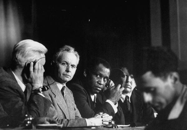 Alexander Fadyeev, Louis Aragon and Paul Robeson attending the Paris Peace Congress (1949)